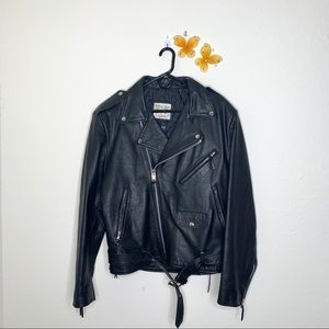 Wilsons Leather Black Leather Motorcycle Jacket